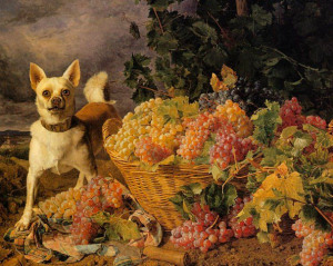 A Dog by a Basket of Grapes in a Landscape, 1836