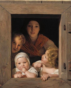 Young Peasant Woman with Three Children at the Window, 1840