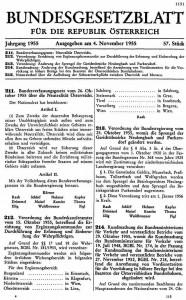 El Bundesgesetzblatt, el documento que contiene la Ley Constitucional Federal sobre la neutralidad de Austria