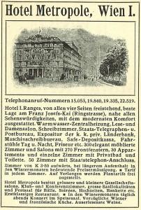 Folleto publicitario del Hotel Metropole